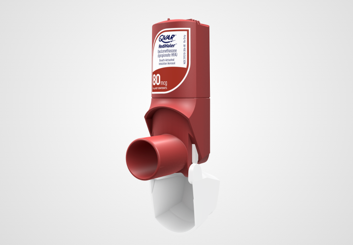 Image of the QVAR RediHaler® breath actuated inhaler design